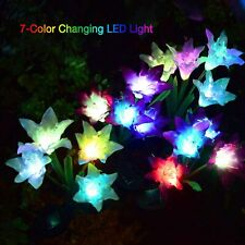 4 LED Solar Power Lily Flower Stake Lights Outdoor Garden Path Landscape Lamps