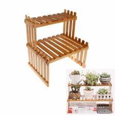 2Tier Plant Shelf Flower Potted Display Stand Bamboo Wood Storage Rack Organizer