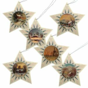 150 Glittered Star Christmas Gift Tags with Victorian Images (EG)