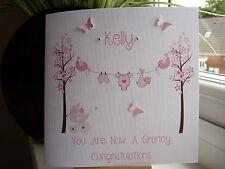 Handmade Personalised New Baby Girl Boy Birth Card Grandparents Granny Nana