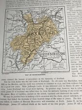 1923: Map Roxburghshire 97 Years Old Print Vintage Jedburgh Abbey Photo Print D