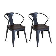Charles Bentley Salvage 2x Stackable Steel Arm Chair Outdoor Garden Elm Wood Top