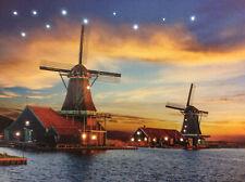 LED Wandbild mit Beleuchtung Windmühlen im Sonnenuntergang Leuchtbild 40x30 cm