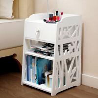 Nightstand Bedside Bedroom End Table Storage Shelf 1 Drawers Stand Storage Wood