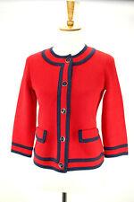 Talbot's Women's XS Red Navy Career Cardigan Sweater