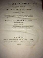 DISSERTATION SUR LE TRAITEMENT DE LA FIÈVRE PUTRIDE 1820