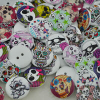 New 50 pcs Skull Head Wood Buttons 20mm Sewing Craft Mix Lots WB48