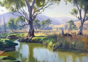 Australian Painting Landscape Bush Country Gum Trees Fine Art Canvas A3