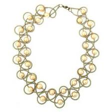 STUNNING LUSTROUS GOLD FRESH  WATER PEARL BRONZY PIANO WIRE NETTING NECKLACE