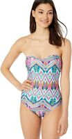 Kenneth Cole REACTION Women's 183562 Bandeau One Piece Swimsuit Size L