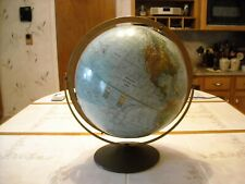 "Vintage Replogle Globe 12"" Land And Sea Metal Stand Raised Relief"