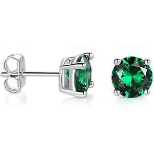 2 ct. Emerald Round Basket Set Stud Earrings in Solid Sterling Silver