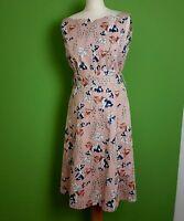 Per Una Fit Flare Midi Dress UK 12 Nude Pink Floral Waist Tie