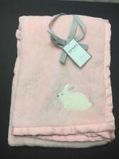 Carters Pink Baby Blanket White Bunny Rabbit Satin Edge Plush Soft Cozy