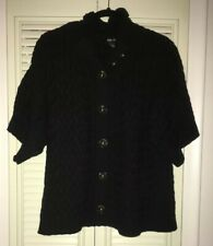 Women's STYLE & Co Cable Knit Short Sleeve Cardigan Sweater Jacket Black~Size XL