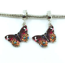 2pcs Butterfly European Charm Crystal Spacer Beads Fit Necklace Bracelet DIY