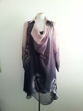 Loafavarra size 6 aubergine silk asymmetric dress with long sleeves