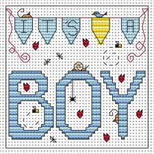 Fat Cat Cross stitch card kit - It's a Boy