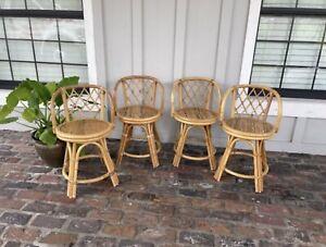 Vintage Bamboo Swivel Chairs Wicker Rattan Coastal Beach Counter Height Boho
