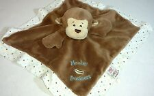 Baby Ganz Monkey Business Security Blanket Lovey Brown White Heart Banana Plush
