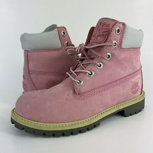 """Timberland 6"""" Premium Boots Pink Suede Est.1973 Women's Size 5.5 (4Y)"""