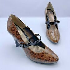 Sofft 1055910 Leopard Lizard Print Patent Leather Mary Jane Heel Shoe Size 9M