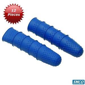 12 THIMBLETTES Rubber Thimbles PAPER COUNTING Medium Finger Cones SIZE 1 BLUE