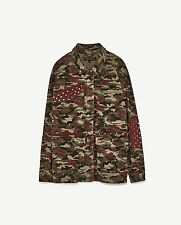 ZARA STUDDED MILITARY CAMOUFLAGE OVERSIZED PARKA JACKET WITH SPIKES AND STUDDS