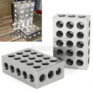 2Pcs Ultra Precision 1-2-3 Blocks 23 Holes 0002'' Ground Hardened Milling Tool q