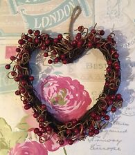 Gorgeous Valentine Wicker Hanging Christmas Heart With Red Berries