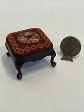 Early BESPAQ Needlepoint Footstool Merlot with Roses Dollhouse Miniature 1:12