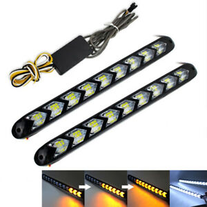 NEW 2x 9 LED Arrow Car Indicator Light Knight Rider Flowing Lamp White/Amber DRL