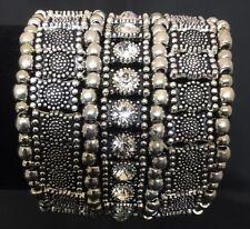 Stretch Bangle Bracelet Bold Silver Rhinestone