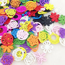100pcs Mix Color Flowers Wood Button Kid's Sewing Crafts Accessories WB87