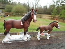 CLYDESDALE GELDING AND FOAL by Schleich; NEW 2016 model/horse/toy/13808/13810