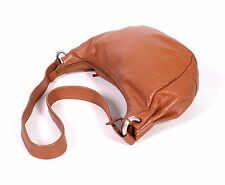 18B  Pamela Damen Tasche Leder rost-braun Bean Bag gerafft breiter Träger