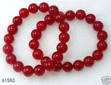 2pcs 10mm Red jade Ruby Round Gemstone Beads Stretch Bangle Braclets