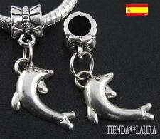 Charms delfines plata pulsera europea 2 unidades. Oferta.