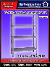 SCAFFALE METALLICO 5 RIPIANI CON RINFORZO SCAFFALATURA METALLICA  CM 100X40X200