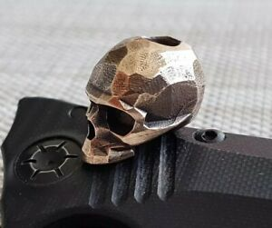 """""""Chopped Skull"""" Bead for Knife Torch or Key-ring lanyard Hand made Bronze"""
