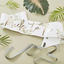 Schärpe BRIDE TO BE Botanical grün weiß & gold  Zubehör JGA Party Braut