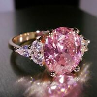 Pink Sapphire Claw Ring 925 Rose Gold Plated Wedding Engagement Band ring SZ6-10
