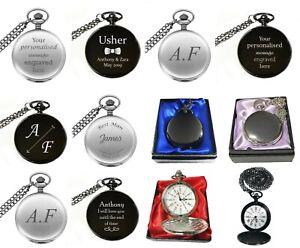 Personalised Engraved Pocket Watch Wedding Birthday Christmas Present Gift Box
