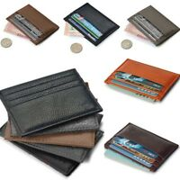 Leather Men's Womens Small Id Credit Card Wallet Holder Slim Pocket Case US