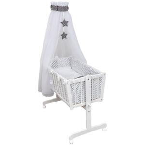 Wiege Schaukelwiege Babywiege Holz Weiß Bettset Sterne Grau Stickerei komplett