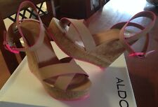Aldo  BRAND NEW Beige / Pink Wedges Sandals Shoes 39 39.5 Or 8 8.5