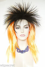 Punk Spikey Shag style Medium Long Straight Fun Color Flamboyant Costume Wigs