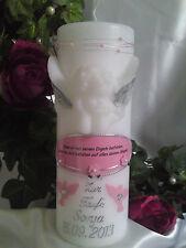 Taufkerze Kommunionkerze mit Engel Text Junge Mädchen 200/70mm Rosa/Silber T004