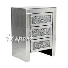 Mirrored Crystal Glass Bedside Table 3 Drawer Bedroom Fashion Cabinet Nightstand
