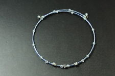 Choker, Silver Tone Flower Charms (Zx3) Cute Girly Blue Beaded Circle Wire